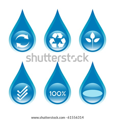 Water conservation and recycling concept set 1.