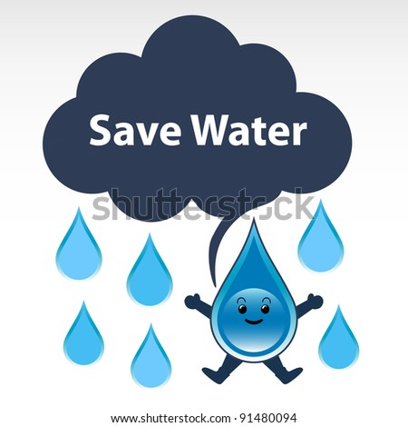 "Water conservation concept. A droplet of water saying ""Save Water""."