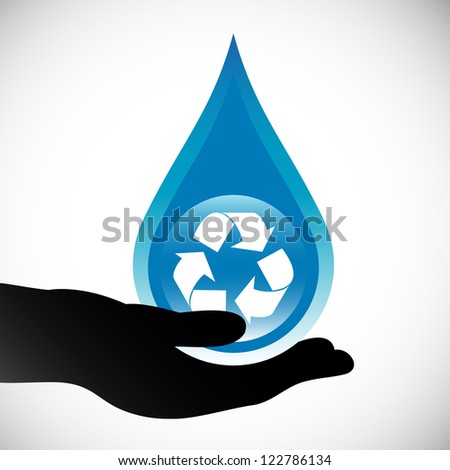 Water conservation concept. Hand holding a water droplet with recycling symbol.