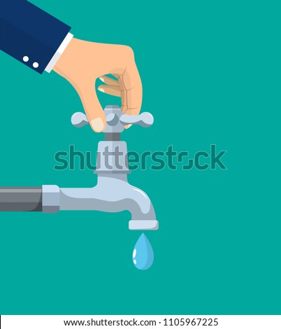 Water conservation concept. Turn off the tap to save water. vector illustration in flat style