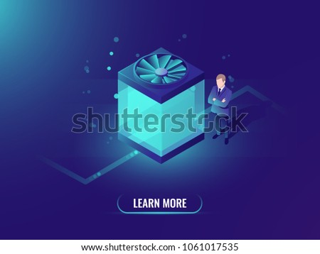 Water cooling computer concept, big data processing and cloud file storage, isometric technology cube, dark neon vector background