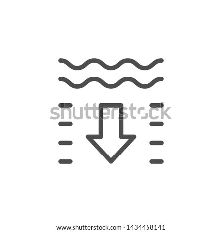 Water depth line outline icon Stock photo ©