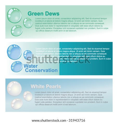 Water dew drops banner - stock vector