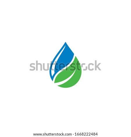 water drop and leaf logo  icon