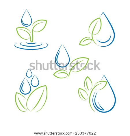 water drop and leaf symbol