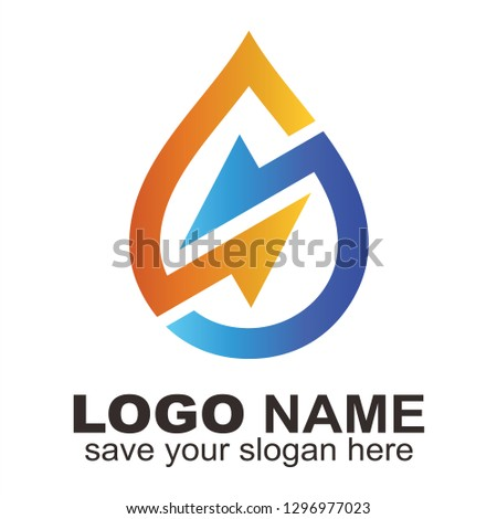 Water drop and Letter S arrow logo, Initial S water logo - Vector