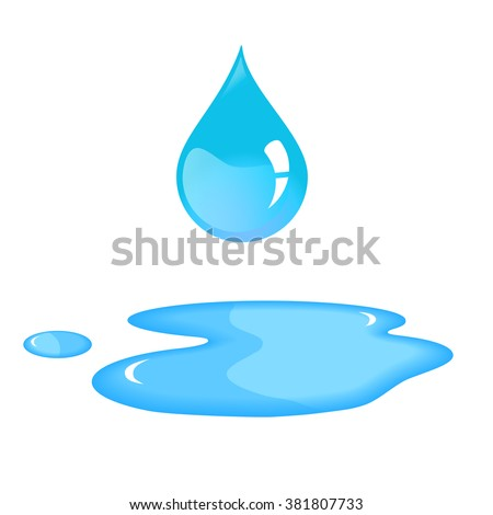 Water drop and spill. Blue water drop and water spill. Isolated water drop in vector. Water drop on white background.