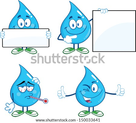 water drop cartoon mascot