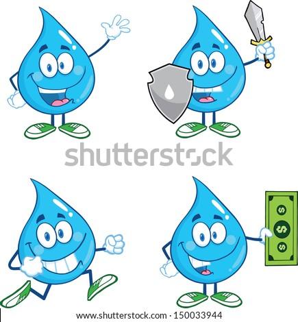 Water Drop Cartoon Mascot Characters. Set Vector Collection 2