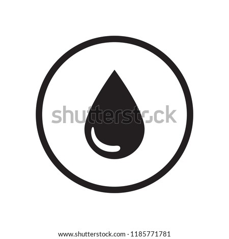 Water drop flat glyphs design sign / icon,  black flat glyphs / silhouette design vector, isolated on white background