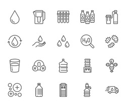 Water drop flat line icons set. Aqua filter, softener, ionization, disinfection, glass vector illustrations. Thin signs for bottle delivery. Pixel perfect 64x64. Editable Strokes.