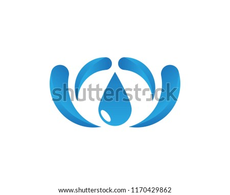 Water drop icon logo design vector template