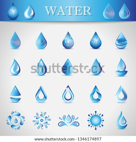 Water Drop Icons - Isolated On Gray Background. Vector Illustration Of Water Drop Icons. Set For Websites, Logo Template, Design Elements And Splash Effect