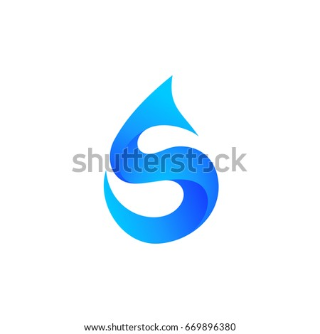 Water Drop Letter S Initial Logo Template