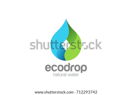 Water drop Logo design vector template. Droplet eco natural aqua Logotype. Blue green icon