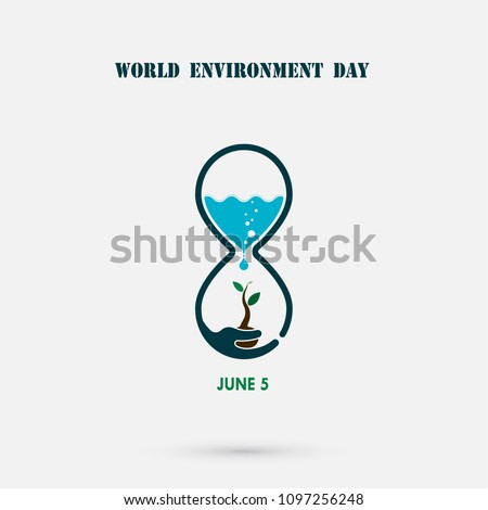 Water drop,sandglass icon with tree icon.World Environment day concept vector design template.June 5st World Environment day concept.World Environment day Awareness Idea Campaign.Vector illustration