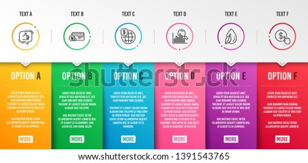 Water drop, Search and Payment method icons simple set. Like, World money and Buy currency signs. Mint leaf, Analytics. Infographic template. 6 steps timeline. Business options. Vector