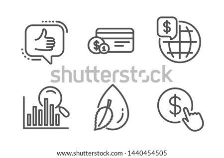 Water drop, Search and Payment method icons simple set. Like, World money and Buy currency signs. Mint leaf, Analytics. Line water drop icon. Editable stroke. Vector