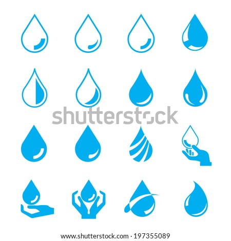 water drop set  blue drop