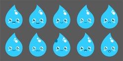 Water Drop Vector Flat Cartoon Character Illustration