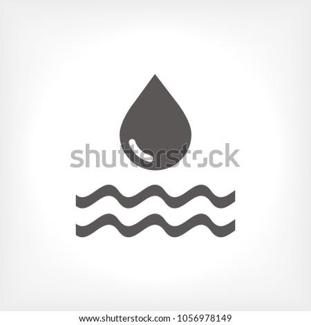 Water drop vector icon. The symbol of a liquid. Oil drop icon. Raindrop icon and weather symbol