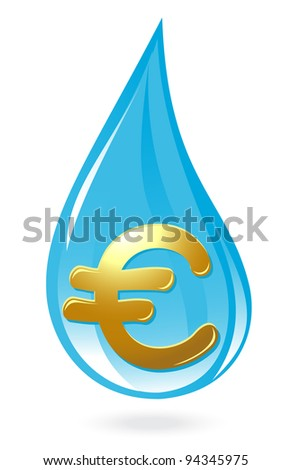 Water drop with euro symbol