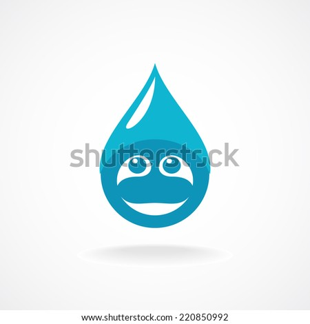 Water Drop Vector Water Drop With Fun Face Logo