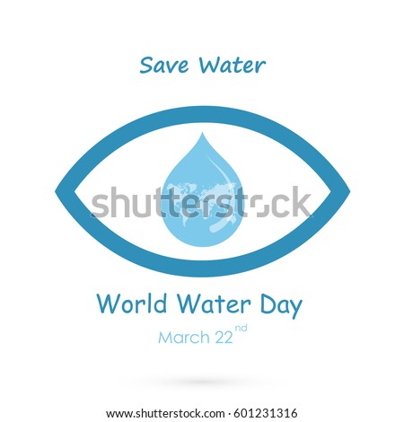 water drop with human eye icon