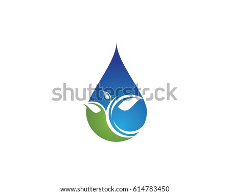water drop with leaf logo