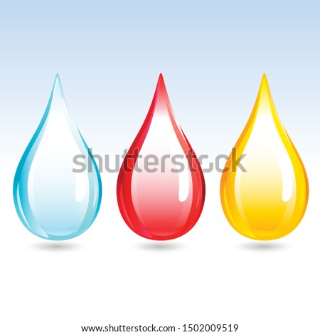 Water Droplet, Blood Droplet, OIl Droplet