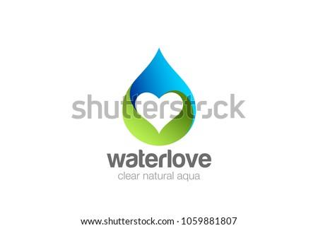 water droplet heart inside logo