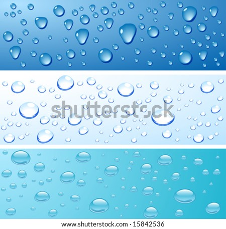 Water droplets wet surfaces. Vector illustration.