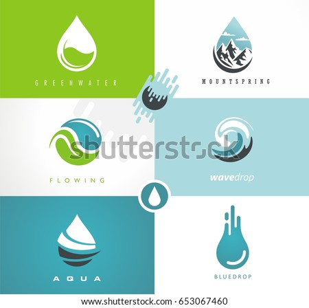 water drops and swirls symbols