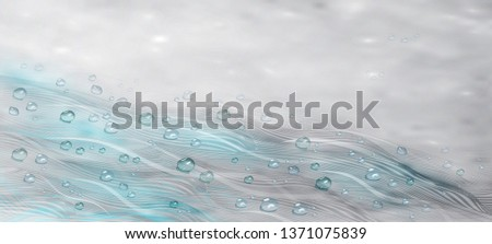 water drops and wavy lines in 3D style. abstract lines in the style of the wave with water drops in a realistic style. background for invitations, presentations, design for text. vector graphics.