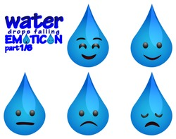 water drops falling emoticons with several expressions part 1 (Happy, Smile, Speechless or Neutral,Slightly sad, Disappointed)