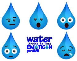 water drops falling emoticons with several expressions part 5 (Questioning look or skepticism or disbelief, Impressed or surprised, Fear and panic, shocked or embarrassing, Dead tired or Sleepy)