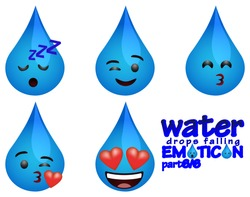 water drops falling emoticons with several expressions part 6 (Sleeping Face, Winking face or Humor , Kissing face, Throwing a Kiss, Romantic face or Affection)