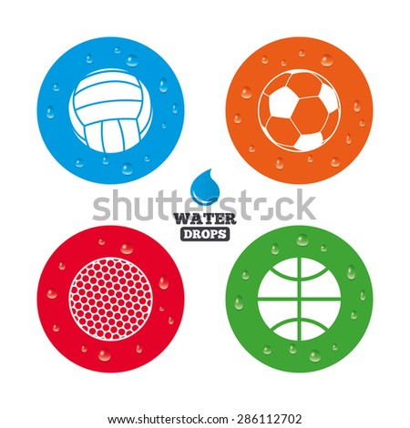 Water drops on button. Sport balls icons. Volleyball, Basketball, Soccer and Golf signs. Team sport games. Realistic pure raindrops on circles. Vector