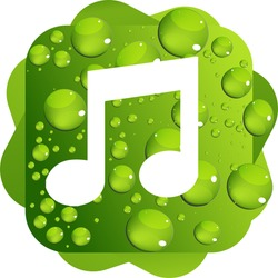 Water drops on green background music icon