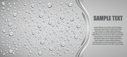 water drops on grey background with place for text