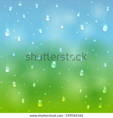 Water drops on window after rain, illustration.