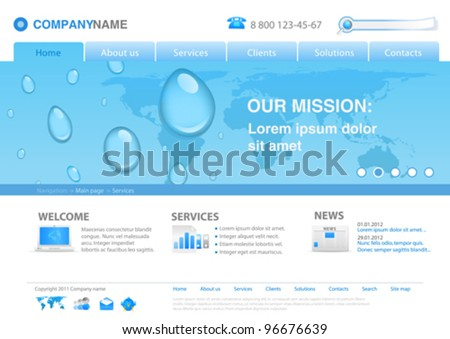 Water drops on world map business background concept. Website template for fresh business ideas, ecology, innovations Editable.