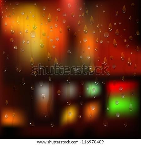 Water drops. Rain. Night city landscape. Blurry Lights. Vector background