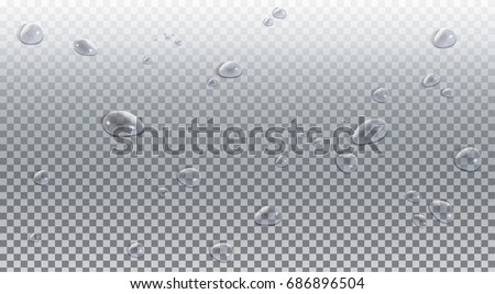 Water drops. Vector illustration. Water drops realistic, transparent effect background. Rain drop top view. 3D water drop. Water drops blurred background. Drop texture. Rain drops vector clip art.