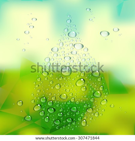 water drops vector on green