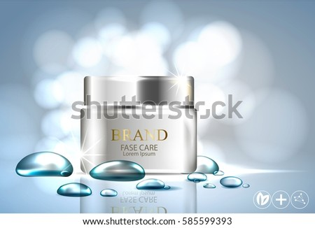 water feeling detergent, face cream moisturizing effect, water bubbles on a blue background. design for care skin cosmetic products. Vector 3d realistic illustration. #585599393