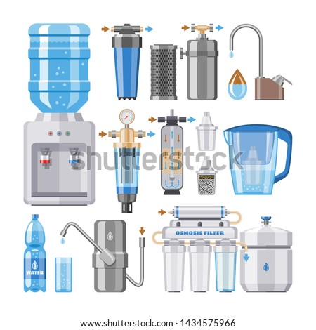 Water filter vector filtering clean drink in bottle and filtered or purified liquid illustration set of mineral filtration or purification to clear aqua isolated on white background