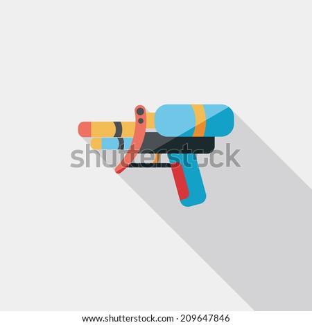 water gun flat icon with long