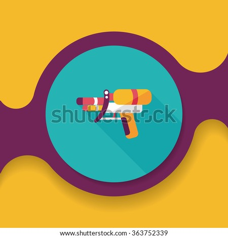 water gun flat icon with long