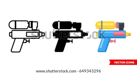 Water gun icon of 3 types: color, black and white, outline. Isolated vector sign symbol.